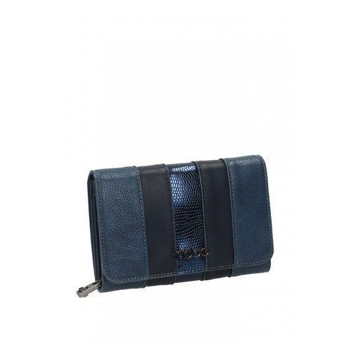 8b13c6b0f85ec Niebieski portfel z połączenia skór ekologicznych - Nobo 99,00 zł Zgrabny  portfel produkowany z połaczenia trzech rodzajów skór organicznych w  geometrycznej ...
