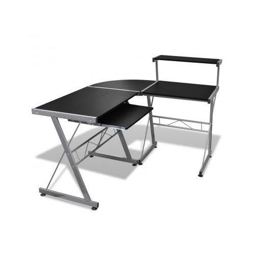 Biurko komputerowe duże z ruchomą półką na klawiaturę (Czarne) - sprawdź w VidaXL