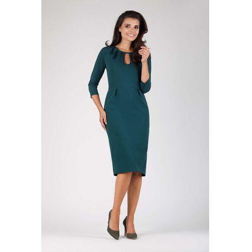 044bd55e02 Zielona Wizytowa Dopasowana Sukienka z Dekoracyjnym Dekoltem