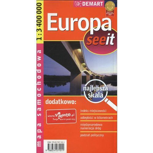 Europa 1:3 400 000 Mapa Samochodowa, oprawa miękka