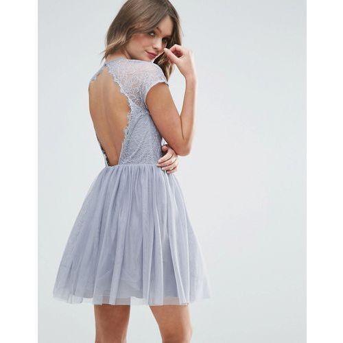 Asos premium lace tulle mini prom dress - grey