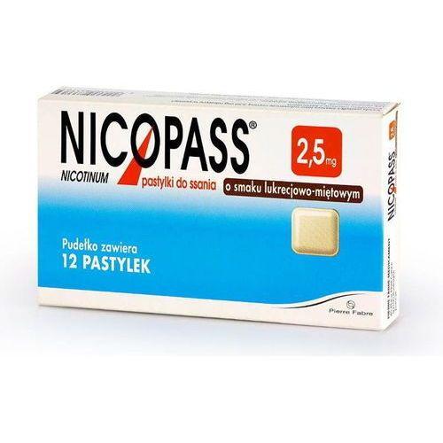 Pierre fabre Nicopass 2,5mg x 12 pastylek do ssania o smaku lukrecji-mięty