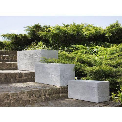 Doniczka biała prostokątna 50 x 23 x 24 cm myra marki Beliani