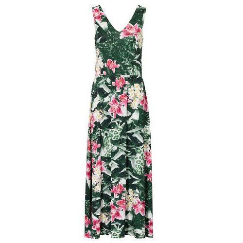 Bonprix Długa sukienka zielony w kwiaty