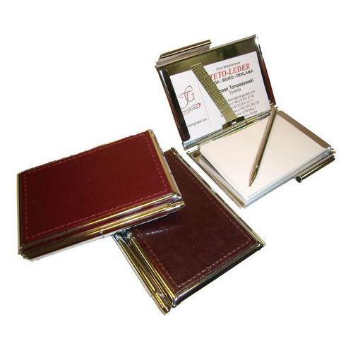 ETUI NA WIZYTÓWKI OSOBISTE KW-38S - metalowe z notesikiem i długopisem wykończone skórą naturalną - kolekcja CLASSIC TOMI GINALDI, KW-38S
