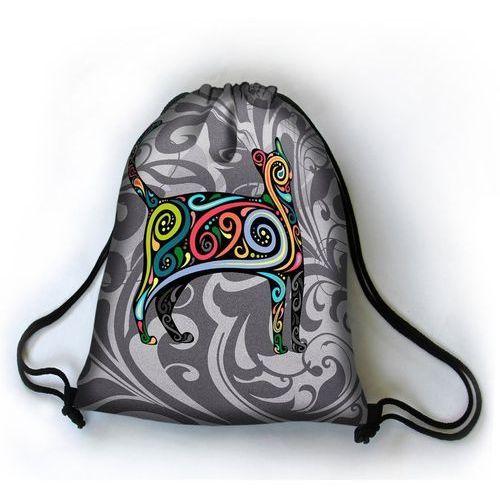 Designerski plecak worek Kotek Paisley - czarny   szary   wielokolorowy   wielobarwny