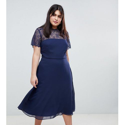 ASOS DESIGN Curve Lace Insert Panelled Midi Dress - Navy, 1 rozmiar
