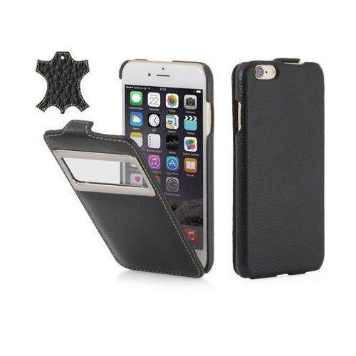 Skórzane etui z klapką i okienkiem StilGut UltraSlimO - czarne (skóra karbowana) - iPhone 6, kolor Skórzane
