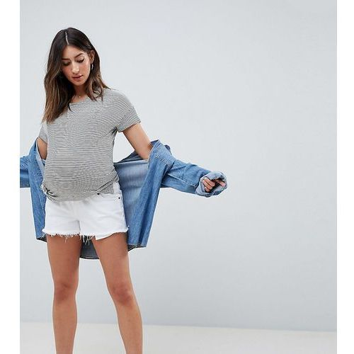 Asos design maternity tall denim mid rise short with raw hem in white - white marki Asos maternity