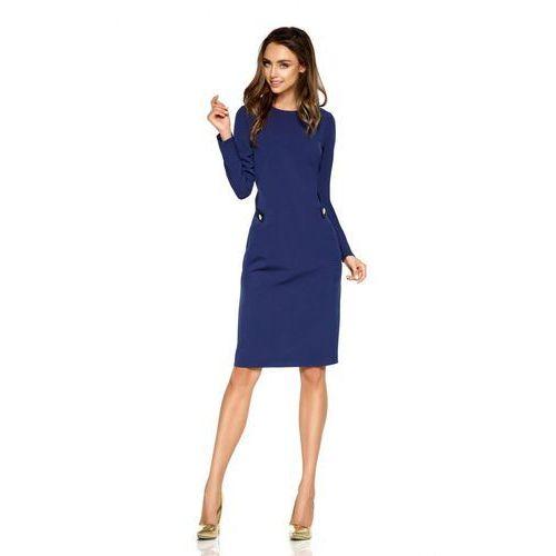 Elegancka sukienka biznesowa l274 granatowy, Lemoniade