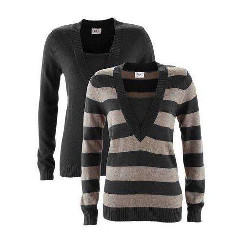 Sweter (2 szt. w opak.) czarny w paski + czarny, Bonprix, 32-54