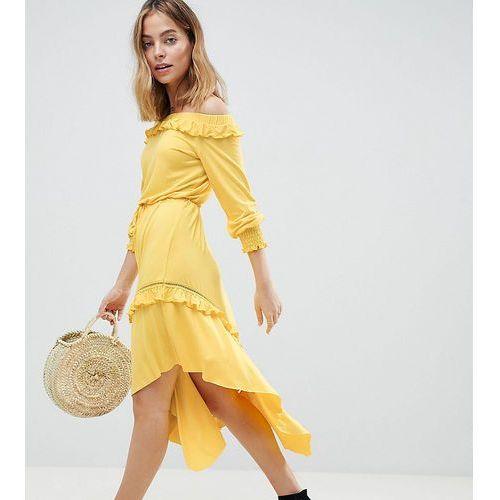 ASOS DESIGN Petite Off Shoulder Shirred Cuff Midi Tea Dress - Yellow, kolor żółty