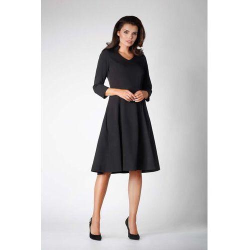 c9148cc7ad Czarna wizytowa rozkloszowana sukienka na stójce z dekoltem v