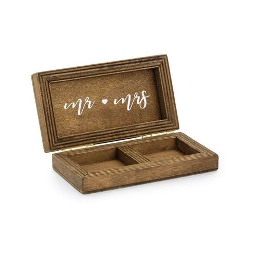 Drewniane pudełko na obrączki Mr Mrs - 1 szt. (5900779113794)