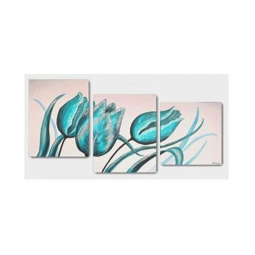 Tulipany - turkus, obraz ręcznie malowany (obraz)