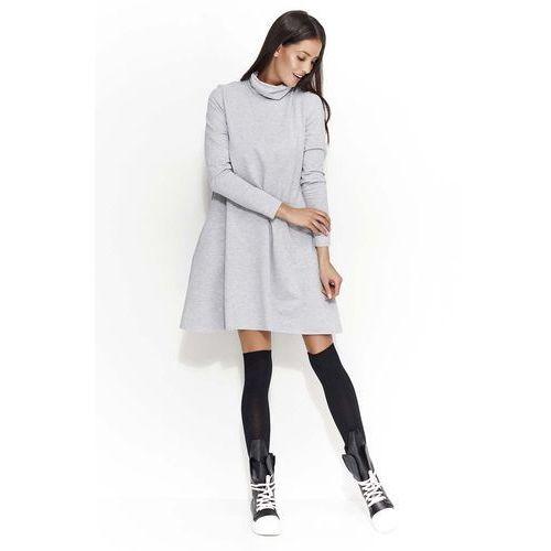 Szara Sukienka Trapezowa przed Kolano z Golfem, kolor szary