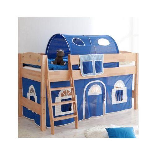 TICAA Łóźko piętrowe EDDY Buche Natur Domek -niebieski/biały - oferta [05c7d14d131f447a]