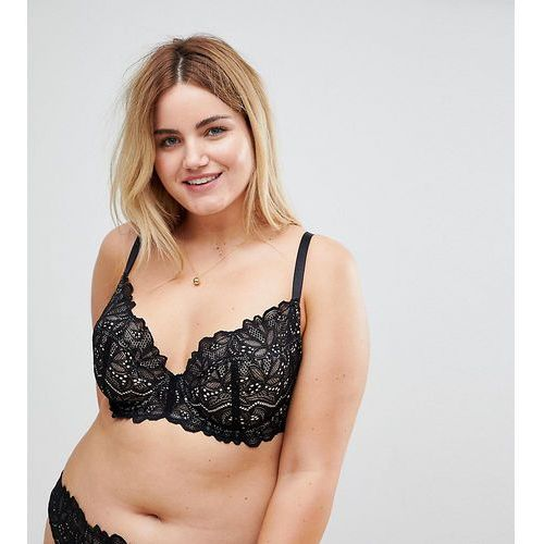 ASOS CURVE Amelia Paisley Lace Padded Underwire Bra - Black