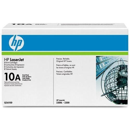 Wyprzedaż 2 x Oryginał Toner HP Q2610D 10A do LaserJet 2300   2 x 6 000 str.   czarny black, pudełko otwarte