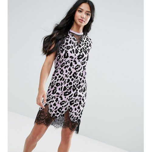 ASOS PETITE Sleeveless T-Shirt Dress With Lace Inserts In Leopard Print - Pink, kolor różowy