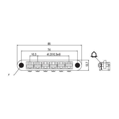 Tonepros tpfpg-c - tune-o-matic bridge, g formula saddles, mostek do gitary, chromowany