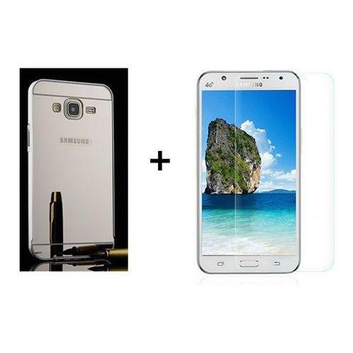 Zestaw | Mirror Bumper Metal Case Srebrny + Szkło ochronne Perfect Glass | Etui dla Samsung Galaxy J5, kolor szary