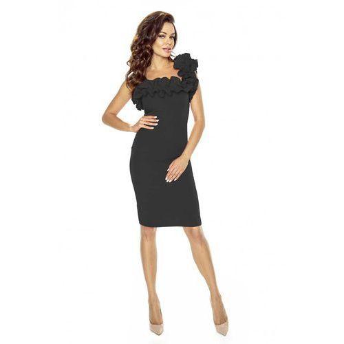 4afba12416 Kartes moda Czarna sukienka koktajlowa z asymetryczną falbanką 179