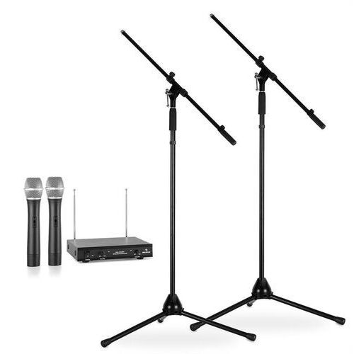 Electronic-star zestaw mikrofonów bezprzewodowych ze statywami / 2 mikrofony bezprzewodowe vhf / 2 statywy / czarny (4260275627999)