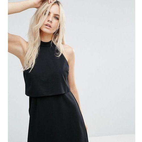 mini dress with crop top layer and high neck - black, Asos petite