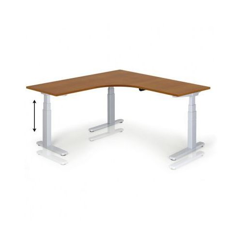 Stół z regulacją wysokości, 675-1275 mm, elektryczny, 1600 x 1600 mm, czereśnia