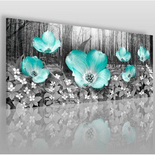 Płatki kwiatów w modnej mięcie - nowoczesny obraz na płótnie, 11101