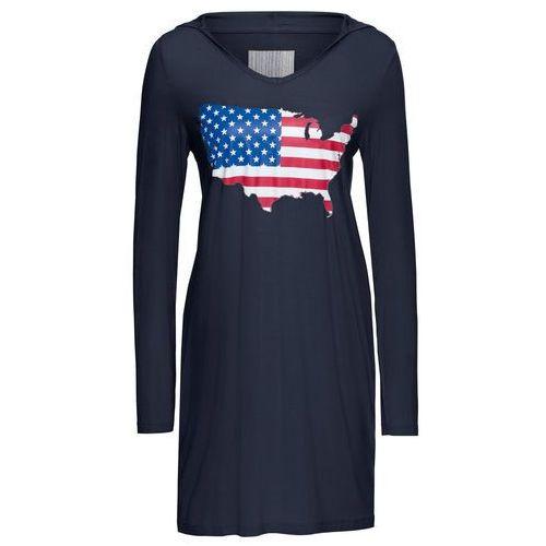 Bonprix Sukienka shirtowa z nadrukiem i kapturem ciemnoniebieski z nadrukiem