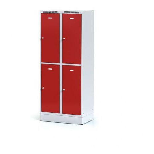 Metalowa szafka ubraniowa 4-drzwiowa na cokole, drzwi czerwone, zamek cylindryczny marki Alfa 3