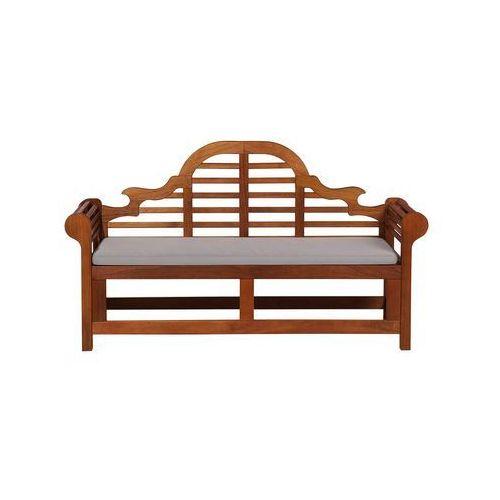 Beliani Ławka ogrodowa drewniana 180 cm poducha szaro-beżowa toscana marlboro (7105279259678)