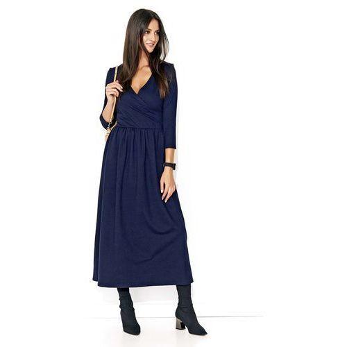 Granatowa Długa Sukienka z Kopertowym Dekoltem, kolor niebieski