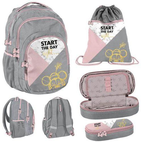 Zestaw szkolny plecak + akcesoria 3w1 myszka minnie różowo-szary marki Paso