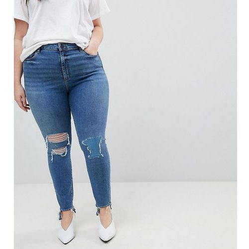 Asos curve ridley high waist skinny jeans in tana extreme mid wash with busted knee and rip & repair detail - blue