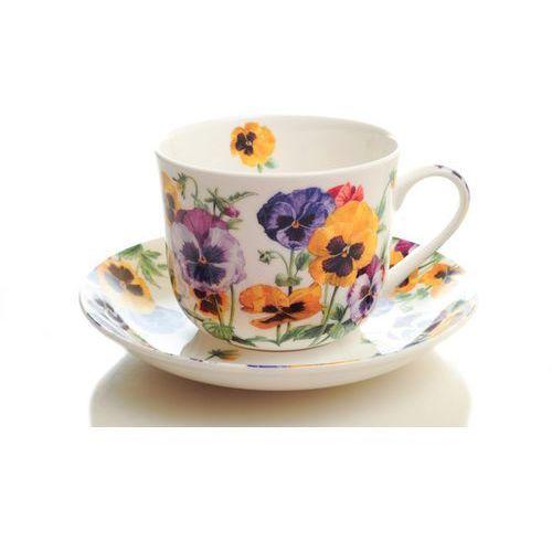 Duża filiżanka do herbaty angielska kwiaty bratki marki Heritage