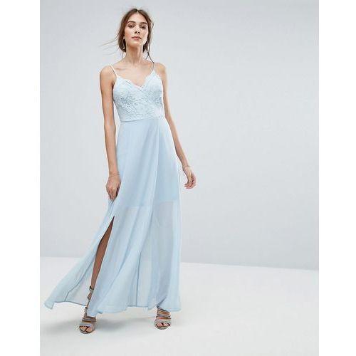 lace cami maxi dress - blue marki New look
