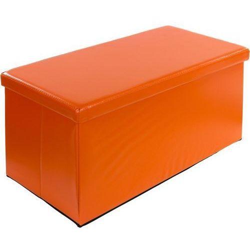 Duża pomarańczowa składana pufa cube siedzisko kufer - pomarańczowy marki Stilista ®