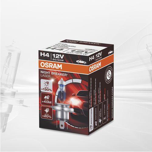 h4 12v 60/55w p43t night breaker® laser (do +130% więcej światła, do 40m dłuższy zasięg, do +20% bielsze światło) marki Osram