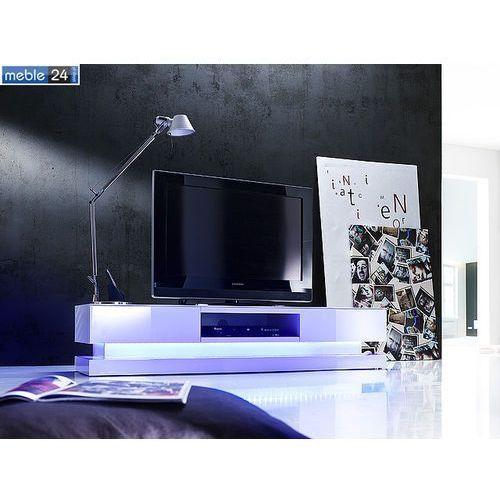 Stolik pod tv biały z oświetleniem LED PAULINA 180/39/36 cm