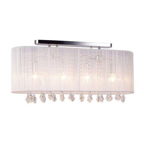Plafon LAMPA sufitowa ISLA MXM1870-4 WH Italux abażurowa OPRAWA kryształowa glamour crystal biała, MXM1870-4 WH