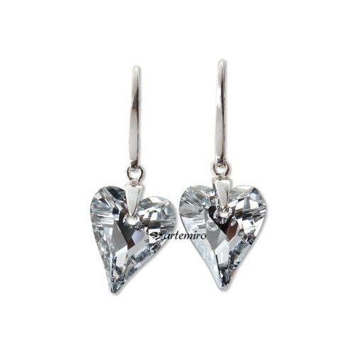 6fa9c2b694bbf Kolczyki Swarovski serca Crystal CAL srebrne 88,00 zł ładne i wytworne  kolczy.