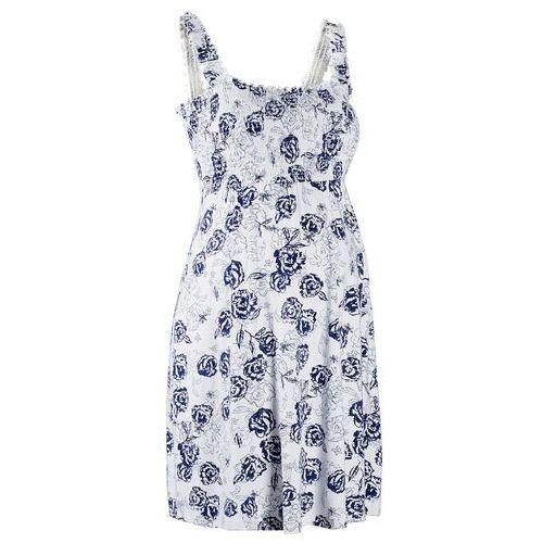 Sukienka ciążowa shirtowa bonprix biało-kobaltowy w kwiaty, kolor biały
