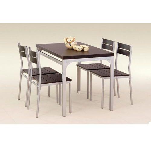 stół z krzesłami MALCOLM + 4 krzesła (wenge) z kategorii zestawy mebli kuchennych