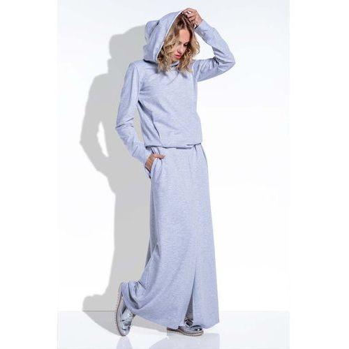 fef99f50f4c4ef Dzianinowy szary komplet długa spódnica i bluza z kapturem marki Fobya  250,00 zł Material: bawelna 85% elastan 15%.Dostepne rozmiary: S  (36).rodzaje ...