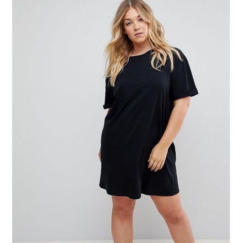 Asos curve Asos design curve ultimate t-shirt dress with rolled sleeves - black