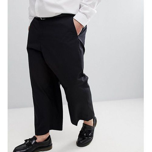 French connection plus wide leg cropped suit trouser in black - black