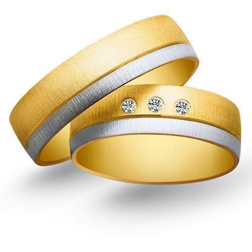 Obrączki z żółtego i białego złota 6mm - O2K/089 - produkt dostępny w Świat Złota